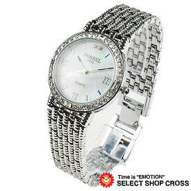 腕時計 FORBEL フォーベル ジュエリーウォッチ メンズ 天然ダイアモンド2石 FB-1089DG ホワイトシェル×シルバー 【あす楽】