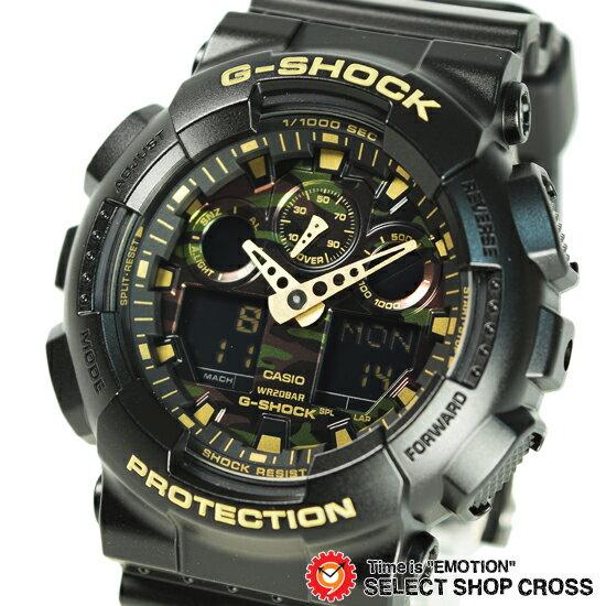 【3年保証】Gショック カシオ G-SHOCK CASIO メンズ 腕時計 アナデジ ビッグケース GA-100CF-1A9DR ブラック ゴールド カモフラージュ柄 海外モデル【着後レビューを書いて1000円OFFクーポンGET】 【あす楽】