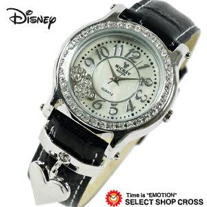 Disney ディズニー ミッキー 腕時計 ブランド MKハートチャーム レディース クォーツ スワロフスキー付 本革 レザーベルト ブラック MK120031-svbk 【あす楽】