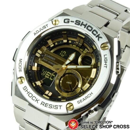 【3年保証】G-SHOCK Gショック CASIO カシオ G-STEEL Gスチール メンズ クオーツ 腕時計 ブラック×ゴールド GST-210D-9ADR 海外モデル【着後レビューを書いて1000円OFFクーポンGET】 【あす楽】
