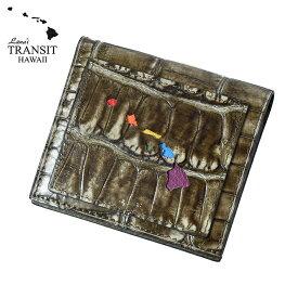 【ブランド紙袋付】 Lanai TRANSIT HAWAI ハワイ限定 Rainbow Smart Case Wallet 二つ折り財布 クロコ型押し ダークブラウン LT-70666-BR 【あす楽】