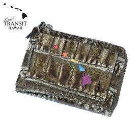【ブランド紙袋付】 Lanai TRANSIT HAWAI Rainbow Round Zip mini Wallet 二つ折り財布 ラウンドファスナー ダークブラウン LT-70668-BR 【あす楽】