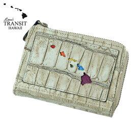 【ブランド紙袋付】 Lanai TRANSIT HAWAI 限定 Rainbow Round Zip mini Wallet 二つ折り財布 ライトグレー(アイボリー) LT-70668-GY 【あす楽】