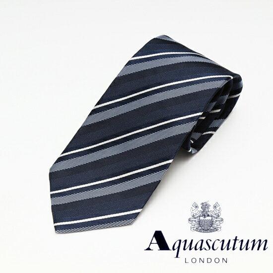 Aquascutum アクアスキュータム ストライプ柄 シルク ネクタイ ブルー メンズ AQ16-AQAW2018-2 【着後レビューを書いて1000円OFFクーポンGET】
