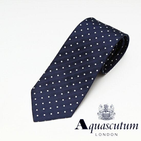 Aquascutum アクアスキュータム ドット柄 シルク ネクタイ ネイビー メンズ AQ16-AQAW214-2 【着後レビューを書いて1000円OFFクーポンGET】 【あす楽】