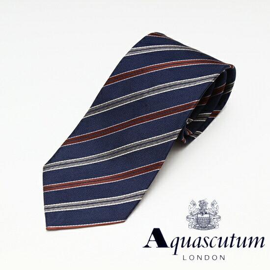 Aquascutum アクアスキュータム ストライプ柄 シルク ネクタイ ネイビー メンズ AQ16-AQAW222-2【着後レビューを書いて1000円OFFクーポンGET】
