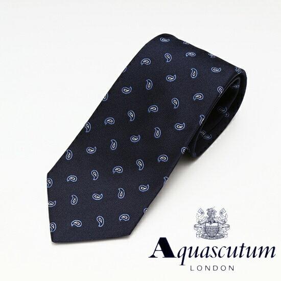 Aquascutum アクアスキュータム ペイズリー柄 シルク ネクタイ ネイビー メンズ AQ16-AQAW235-2【着後レビューを書いて1000円OFFクーポンGET】