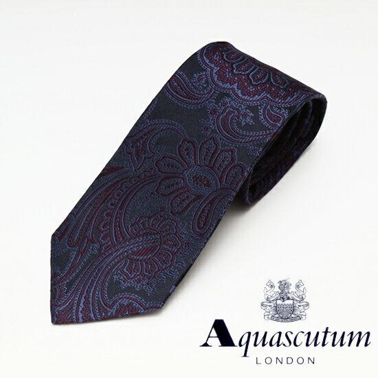 Aquascutum アクアスキュータム ペイズリー柄 シルク ネクタイ ネイビー メンズ AQ16-AQAW247-1【着後レビューを書いて1000円OFFクーポンGET】
