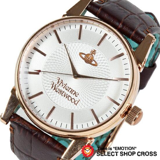 Vivienne Westwood ヴィヴィアン・ウエストウッド アナログ 腕時計 メンズ オーブ レザー シルバー×ローズゴールド ブラウン VV065RSBR【着後レビューを書いて1000円OFFクーポンGET】
