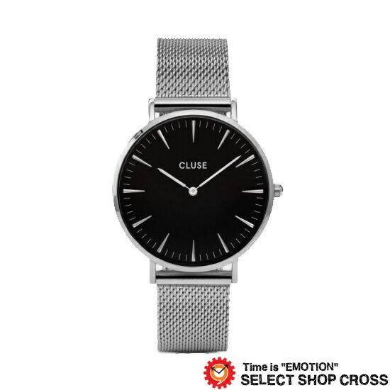 CLUSE クルース LABOHEMEMESHラ・ボエームメッシュベルトシルバー 腕時計 (38mm径)ブラック/シルバーCL18106【着後レビューを書いて1000円OFFクーポンGET】 【あす楽】