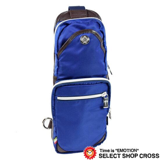 オロビアンコ Orobianco ボディバッグ GIACOMIO 13-H BLUETTE-12 ブルー/型押しダークブラウンレザー or160504