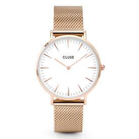 CLUSE クルース La Boheme ラ・ボエーム 腕時計 ブランド メンズ レディース ユニセックス 38mm ローズゴールド ホワイト メッシュ シンプル エレガント CL18112
