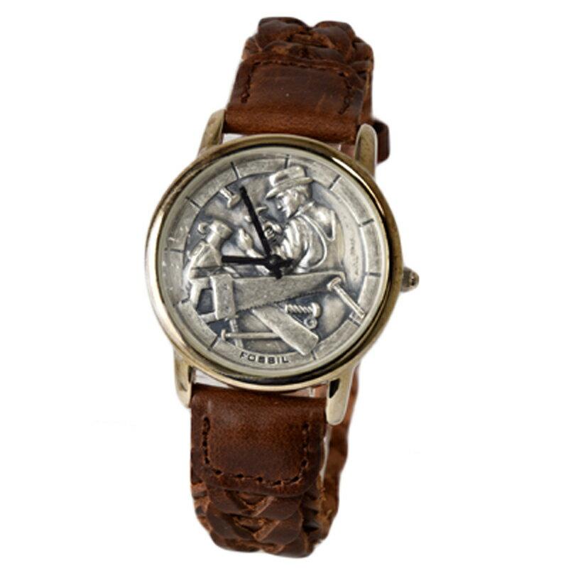 フォッシル FOSSIL 腕時計 アナログ ビンテージ ウォッチ フォッシルカーペンターウォッチ 化石 大工 ブラウン 革ベルト レザー le-9468 【あす楽】