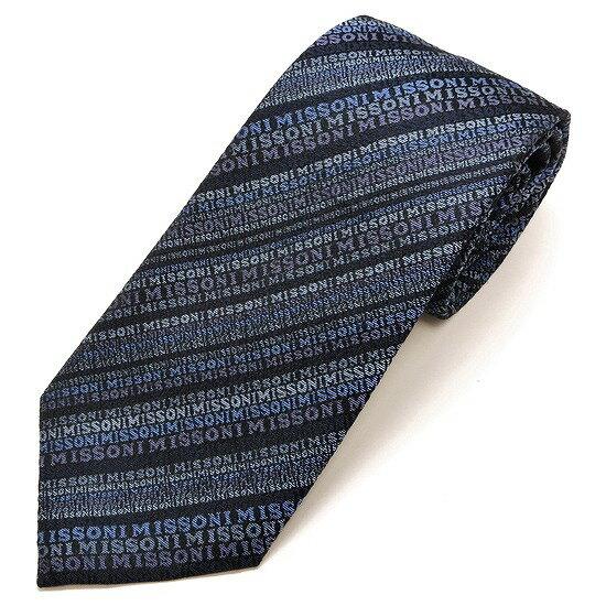 MISSONI ミッソーニ ネクタイ シルク100% ストライプ柄 ブルー m17-6116-0002