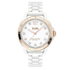 コーチ COACH クオーツ 腕時計 ブランド TATUM テイタムホワイト/イエローゴールド三つ折れプッシュレディース14502752