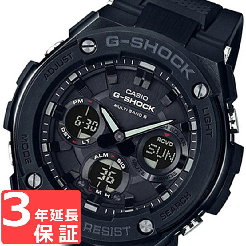 CASIO カシオ G-SHOCK Gショック Gスチール オールブラック タフソーラー アナログ デジタル メンズ GST-W100G-1B