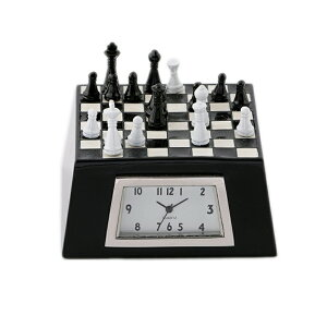 Miniature Clock Collection ミニチュアクロックコレクション ミニチュア置時計 チェスボード チェス盤 駒 ブラック MC-C3157-BK