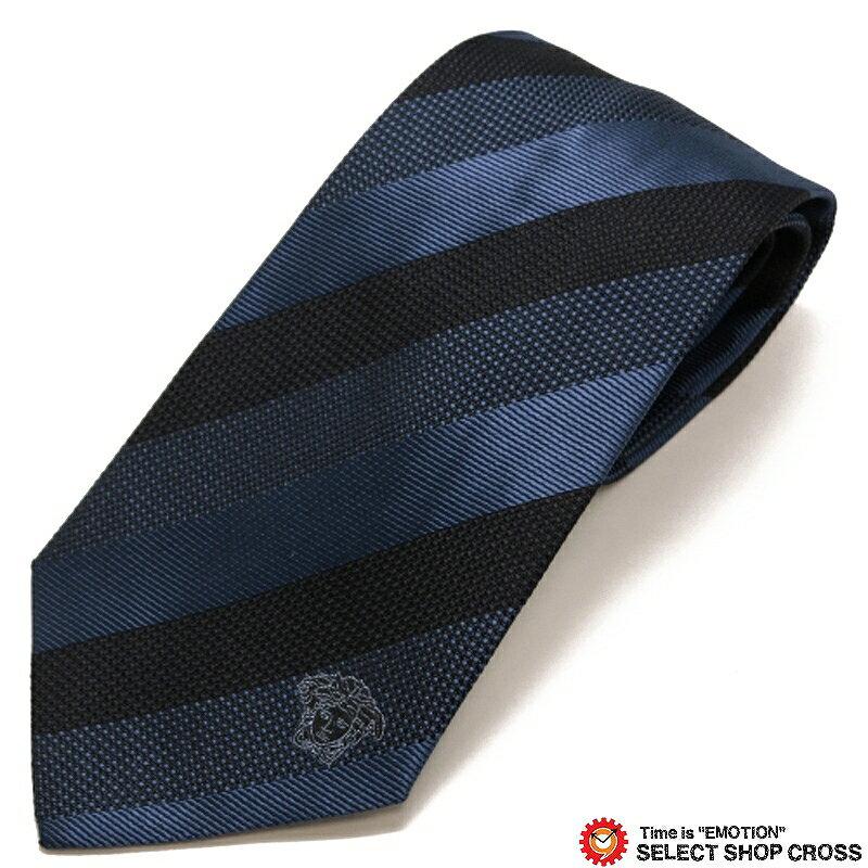 ヴェルサーチ VERSACE ネクタイ シルク100% ストライプ柄 ブルー/ブラック 17V-0675-0002 【あす楽】