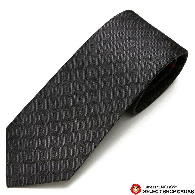 グッチ GUCCI ネクタイ シルク100% ロゴ格子柄 グレー/ブラック GUCCI-456522-1100 【あす楽】