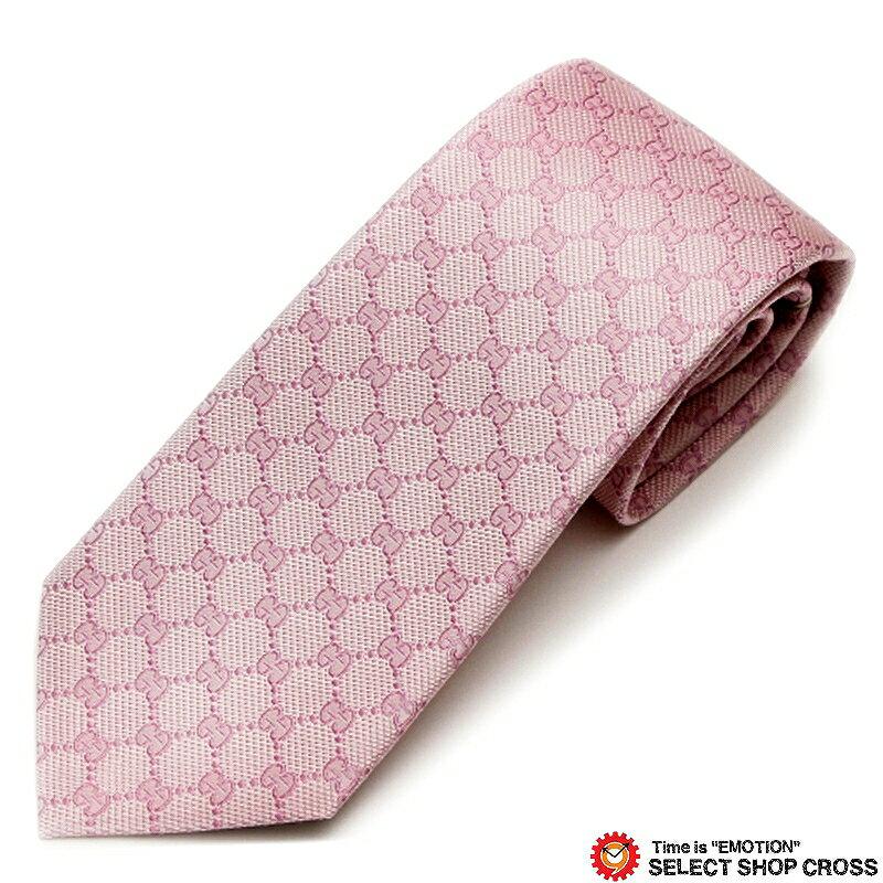 グッチ GUCCI ネクタイ シルク100% ロゴ格子柄 ピンク GUCCI-456522-5900 【あす楽】