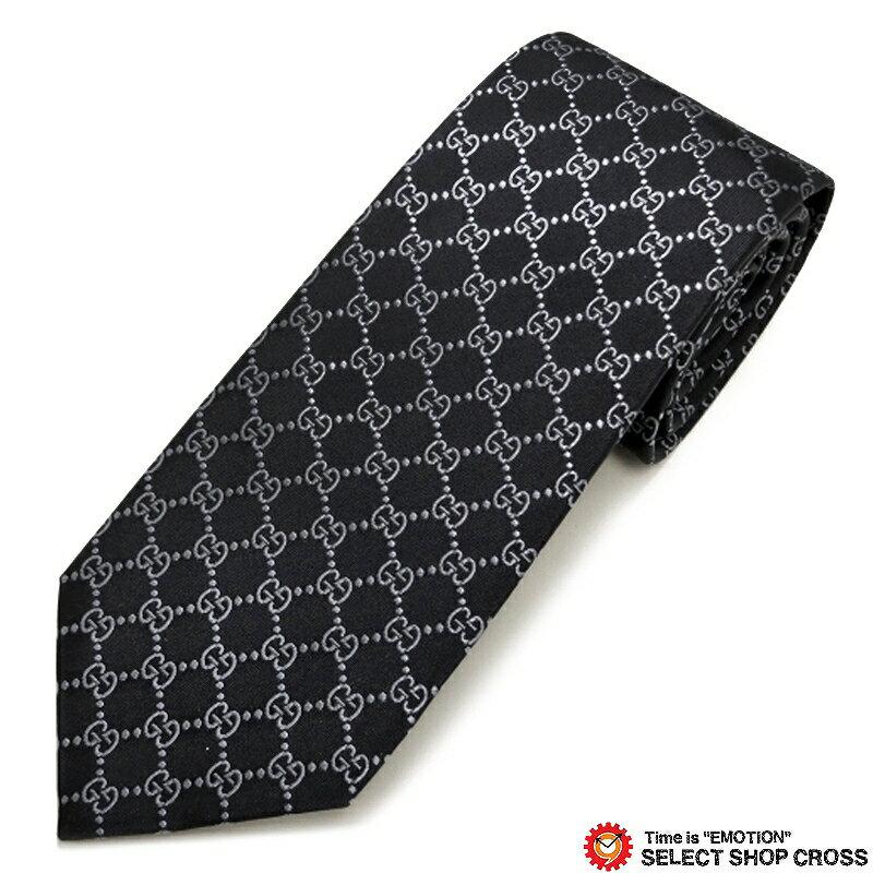 グッチ GUCCI ネクタイ シルク100% ロゴ格子柄 ブラック/グレー GUCCI-456524-4069 【あす楽】