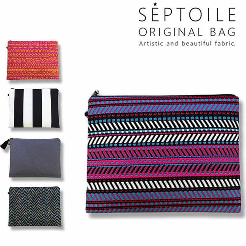 SEPTOILE セプトワール クラッチバッグ 選べる5カラー 幾何学模様 ネイティブ ギザギザ マリンボーダー柄 ピンク 富士金梅 タッセル iPad タブレットケース