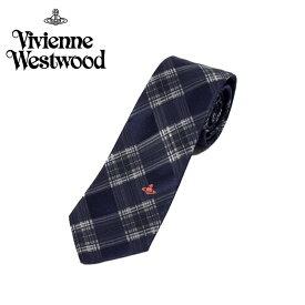 ヴィヴィアン ウエストウッド Vivienne Westwood ネクタイ チェック柄 7cm ネイビー×グレー 10044-p275slim