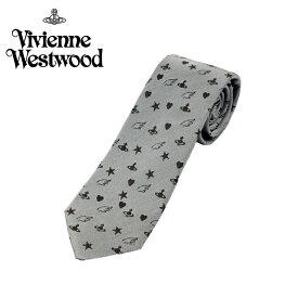 ヴィヴィアン ウエストウッド Vivienne Westwood ネクタイ オーブロゴ&星&ハート柄 7cm ライトグレー 10049-m249slim