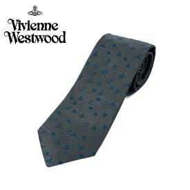 ヴィヴィアン ウエストウッド Vivienne Westwood ネクタイ オーブロゴ&星&ハート柄 8.5cm ダークグレー 10049-p219