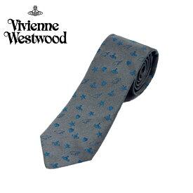 ヴィヴィアン ウエストウッド Vivienne Westwood ネクタイ オーブロゴ&星&ハート柄 7cm ダークグレー 10049-p219slim