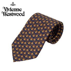 ヴィヴィアン ウエストウッド Vivienne Westwood ネクタイ オーブロゴ小紋柄 8.5cm ネイビー×ブラウン 24t85-p00-0005