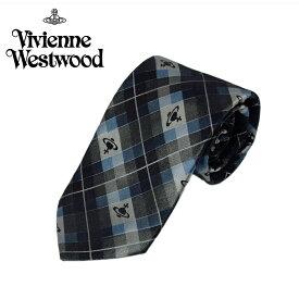 ヴィヴィアン ウエストウッド Vivienne Westwood ネクタイ チェック柄 8.5cm グレー×ライトブルー 24t85-p19-0005