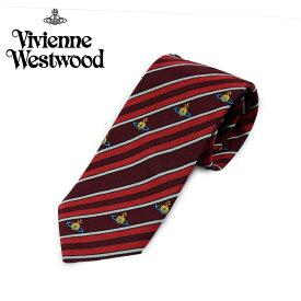 ヴィヴィアン ウエストウッド Vivienne Westwood ネクタイ ストライプ柄 8.5cm レッド×ボルドー 24t85-p49-0003