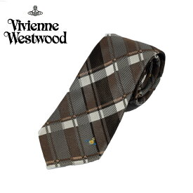 ヴィヴィアン ウエストウッド Vivienne Westwood ネクタイ チェック柄 8.5cm ブラウン 24t85-p50-0001