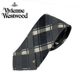 ヴィヴィアン ウエストウッド Vivienne Westwood ネクタイ チェック柄 8.5cm グレー 24t85-p50-0006