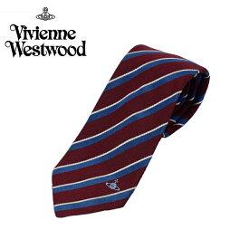ヴィヴィアン ウエストウッド Vivienne Westwood ネクタイ ストライプ柄 8.5cm ボルドー×ネイビー 24t85-p51-0003