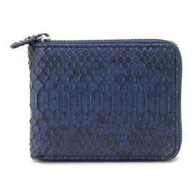 ヘビ革財布 メンズ 二つ折り財布 ラウンドファスナー財布 高級天然皮革 蛇革 パイソン Python Iris Blue ブルー ネイビー SNJN0795IBL