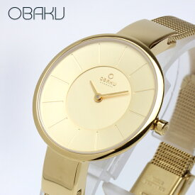 オバク OBAKU SOL 32mm GOLD ゴールド/ゴールドメタルメッシュベルト レディース 腕時計 ブランド V149LXGGMG 【あす楽】
