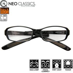 首にかけれる 折り畳み リーディンググラス 老眼鏡 超軽量 シニアグラス スリーヴケース付き NEO CLASSICS ネックハグ スモーク GLR-21-1+1.00〜+3.50