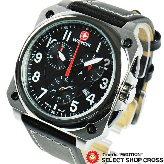 ウェンガー WENGER 腕時計 アナログ メンズ Aerograph Cockpit エアログラフコックピット 77015 ブラック 黒 誕生日プレゼント 男性 ホワイトデー ギフト