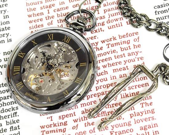 懐中時計 メカニカル ポケット 腕時計 両面スケルトン BR925-GASV ガンメタ×シルバー 【男性用腕時計 リストウォッチ ランキング ブランド 防水 カラフル】 誕生日プレゼント 男性 ホワイトデー ギフト