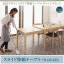 【単品】【テーブルのみ】北欧デザイン スライド伸縮テーブル ダイニングセットシリーズ SORA ソラ 単品ダイニングテ…