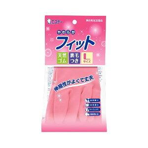 (まとめ)エステー やわらかフィット 天然ゴム手袋 L ピンク 【×10点セット】