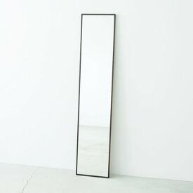 細枠ウォールミラー幅32cm(ブラウン/茶) 天然木/姿見鏡/スリム/高級感/木製/飛散防止加工/壁掛け/北欧風/日本製/完成品/NK-6