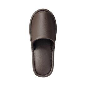 (まとめ) TANOSEE 最高級レザー調スリッパ 外縫い 大人用 ブラウン 1足 【×5セット】