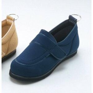 介護靴/リハビリシューズ ネイビー(紺) LK-1(外履き) 【片足23.5cm】 3E 左右同形状 手洗い可/撥水 (歩行補助用品) 日本製