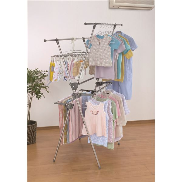 ステンレス室内用物干しスタンド/洗濯物干し 【2段式】 折りたたみ可 大容量 ワイドサイズ