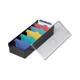 (まとめ)ライオン事務器 名刺整理箱W102×D260×H70mm 800枚収容 黒 No.100 1個 【×5セット】