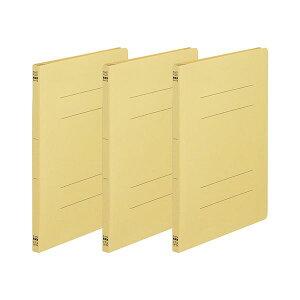 (まとめ)TANOSEE フラットファイル(ノンステープルタイプ)A4タテ 150枚収容 背幅18mm 黄 1パック(3冊)【×50セット】