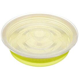 (まとめ) 蓋付き 水切りザルセット/キッチン用品 【S グリーン】 丸型 シクラメン 【×60個セット】